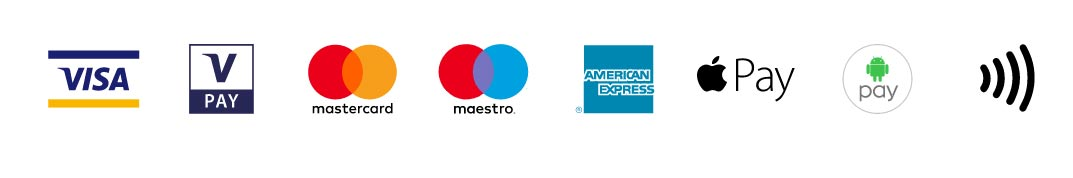 Payment options.Visa, Mastercard, Maestro, American Express, Applepay, Androidpay, Contactless